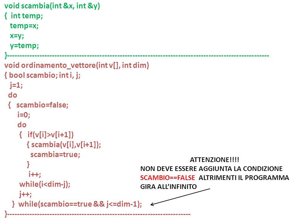 void scambia(int &x, int &y) { int temp; temp=x; x=y; y=temp;