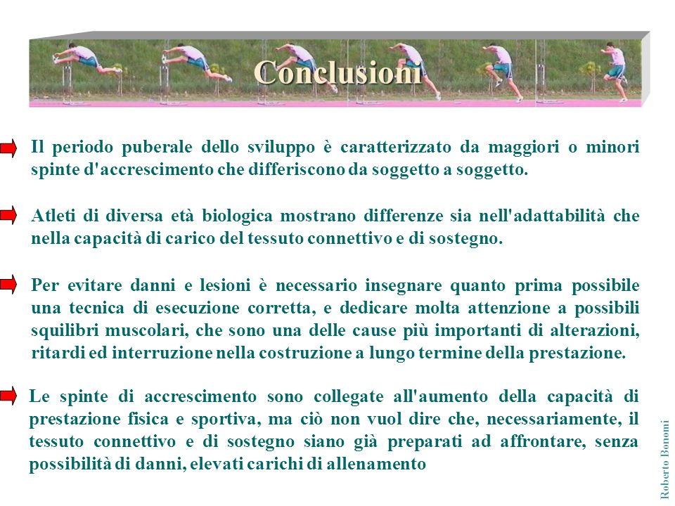 Conclusioni Il periodo puberale dello sviluppo è caratterizzato da maggiori o minori spinte d accrescimento che differiscono da soggetto a soggetto.