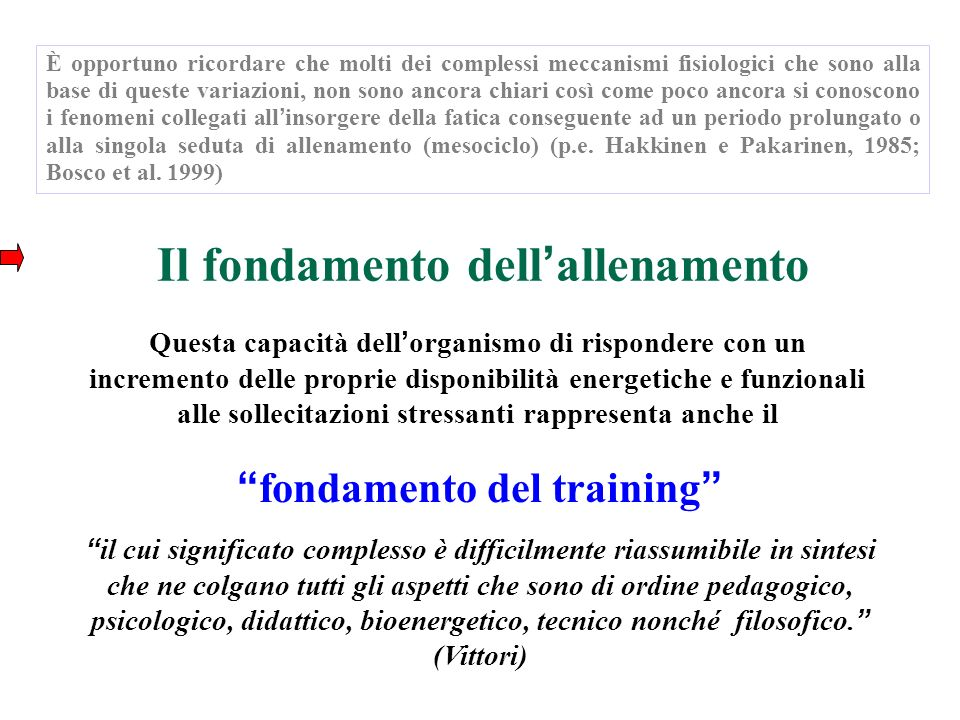 Il fondamento dell'allenamento fondamento del training