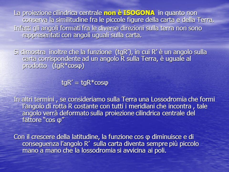 La proiezione cilindrica centrale non è ISOGONA in quanto non conserva la similitudine fra le piccole figure della carta e della Terra.