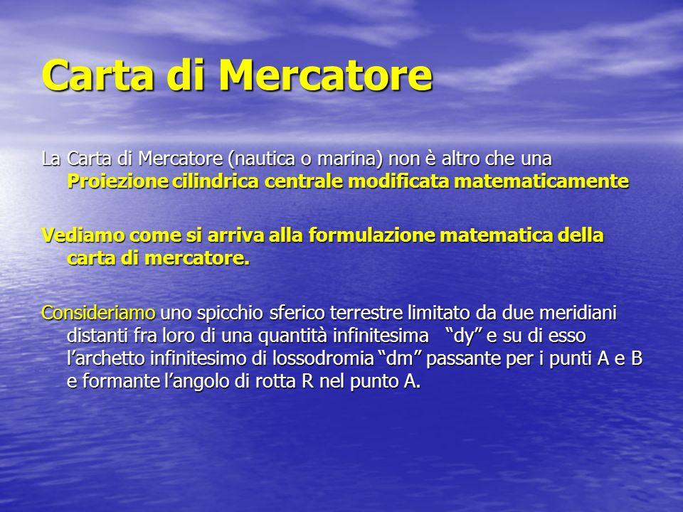 Carta di Mercatore La Carta di Mercatore (nautica o marina) non è altro che una Proiezione cilindrica centrale modificata matematicamente.