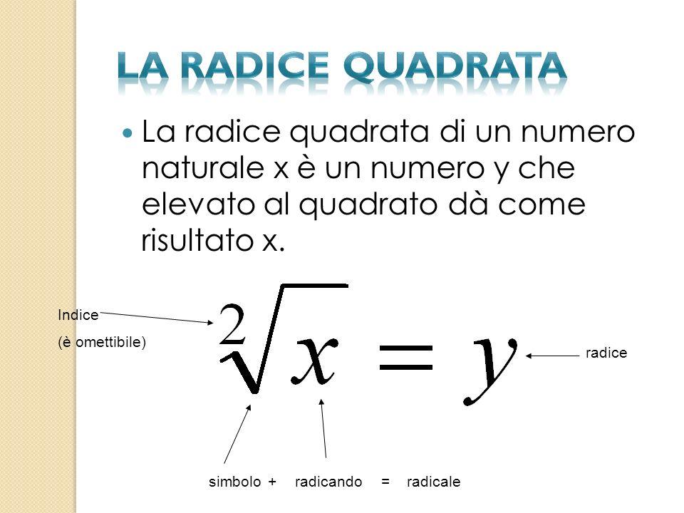 la radice quadrata La radice quadrata di un numero naturale x è un numero y che elevato al quadrato dà come risultato x.