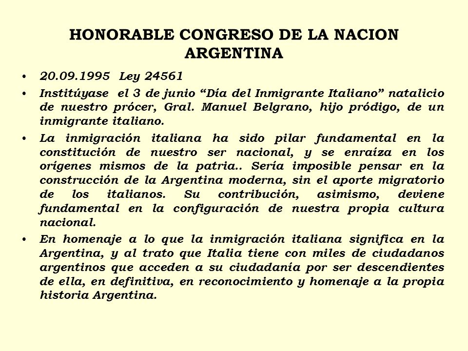 HONORABLE CONGRESO DE LA NACION ARGENTINA