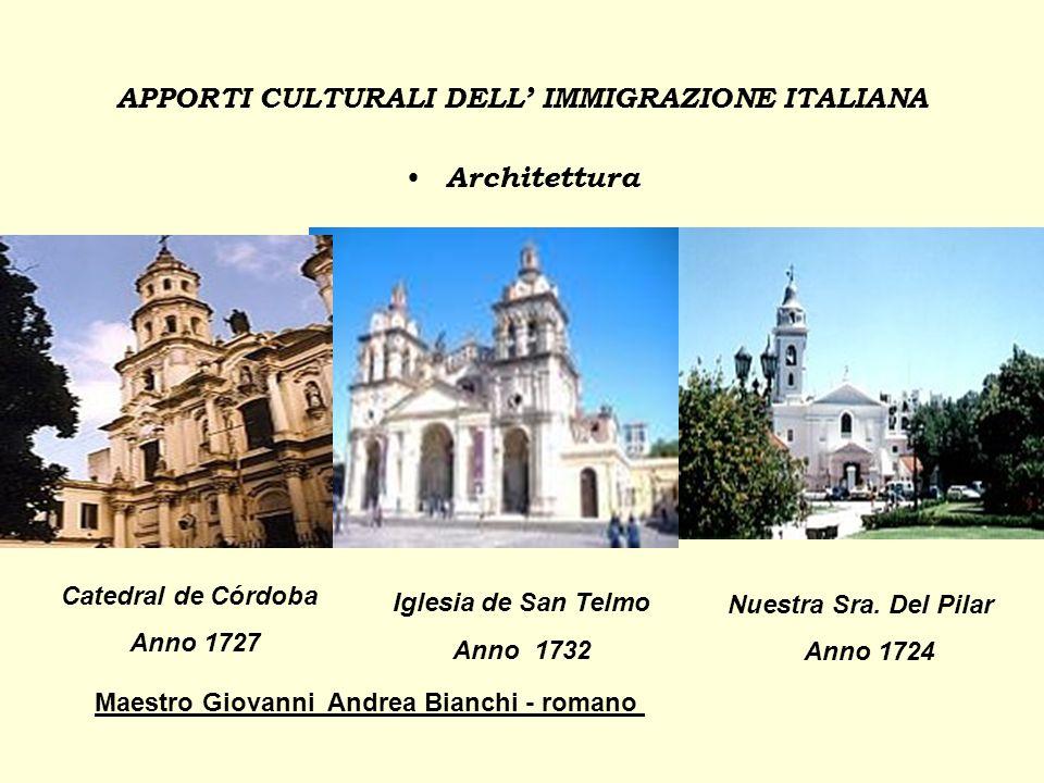 APPORTI CULTURALI DELL' IMMIGRAZIONE ITALIANA