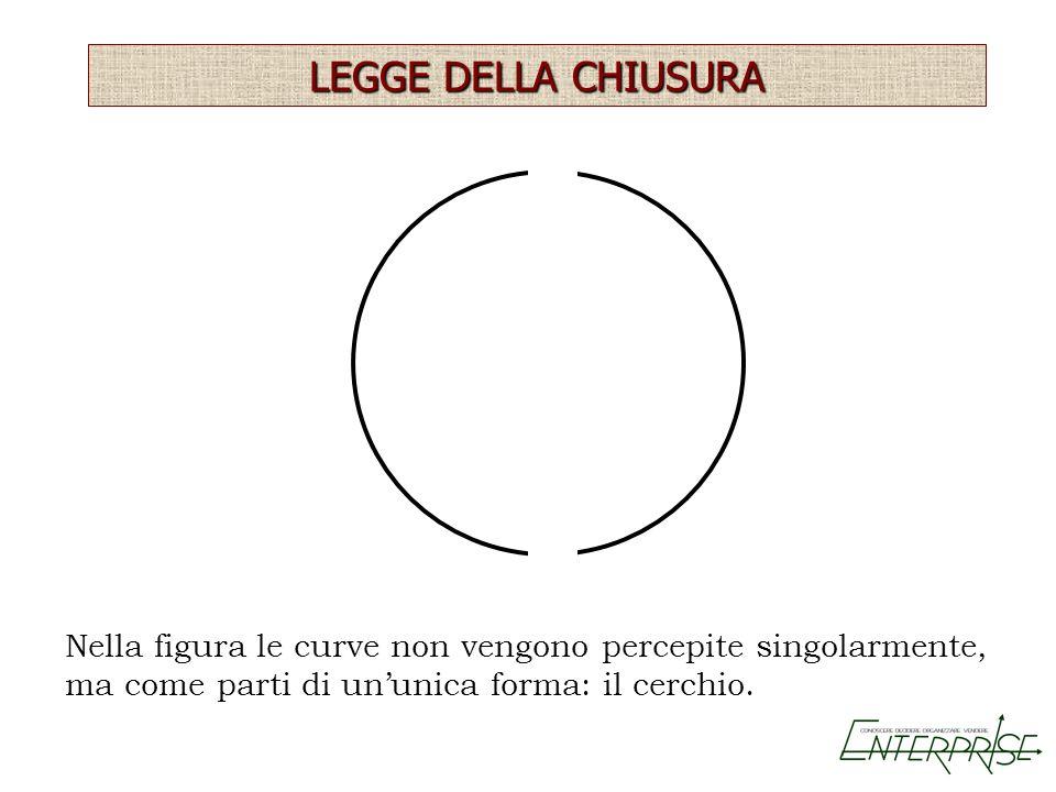 LEGGE DELLA CHIUSURA Nella figura le curve non vengono percepite singolarmente, ma come parti di un'unica forma: il cerchio.