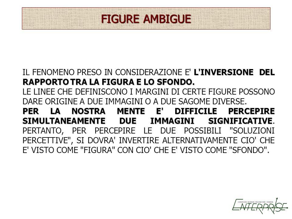 FIGURE AMBIGUE IL FENOMENO PRESO IN CONSIDERAZIONE E L INVERSIONE DEL RAPPORTO TRA LA FIGURA E LO SFONDO.