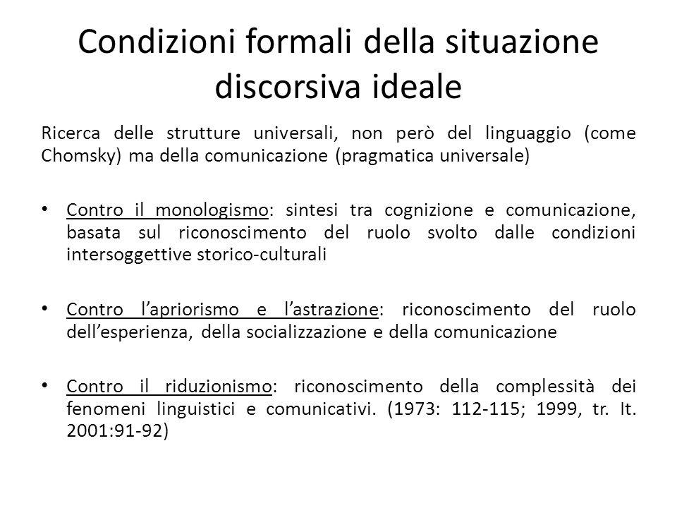 Condizioni formali della situazione discorsiva ideale
