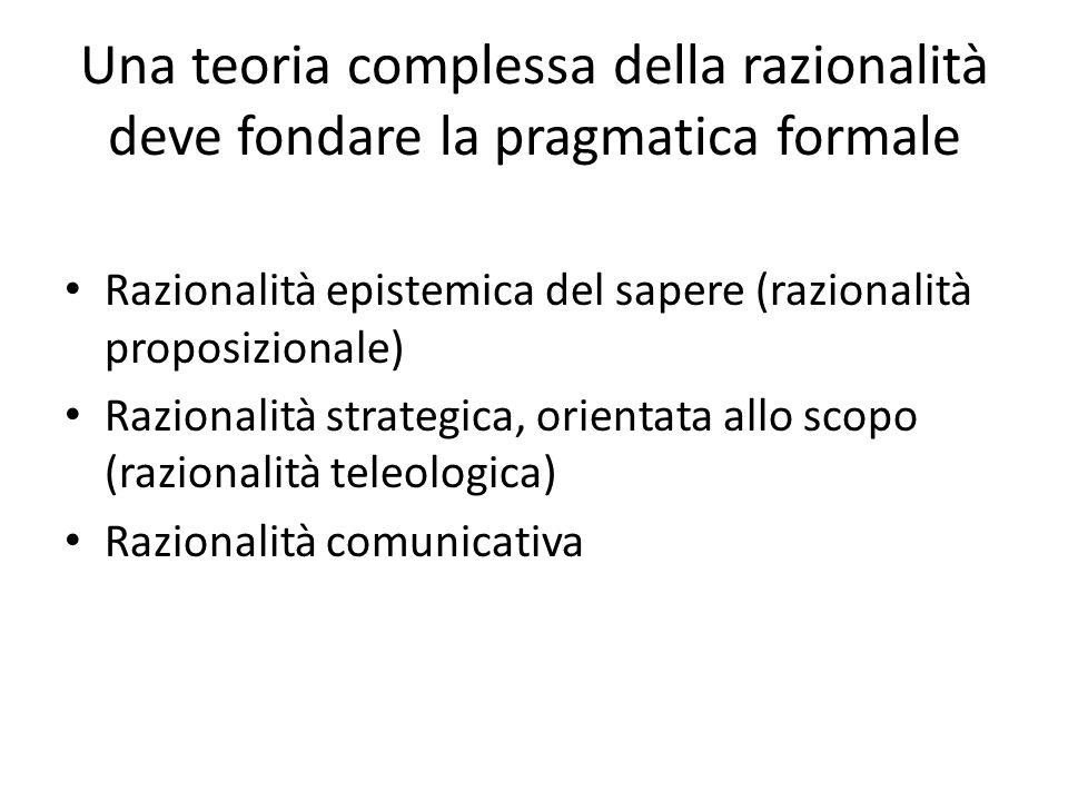 Una teoria complessa della razionalità deve fondare la pragmatica formale