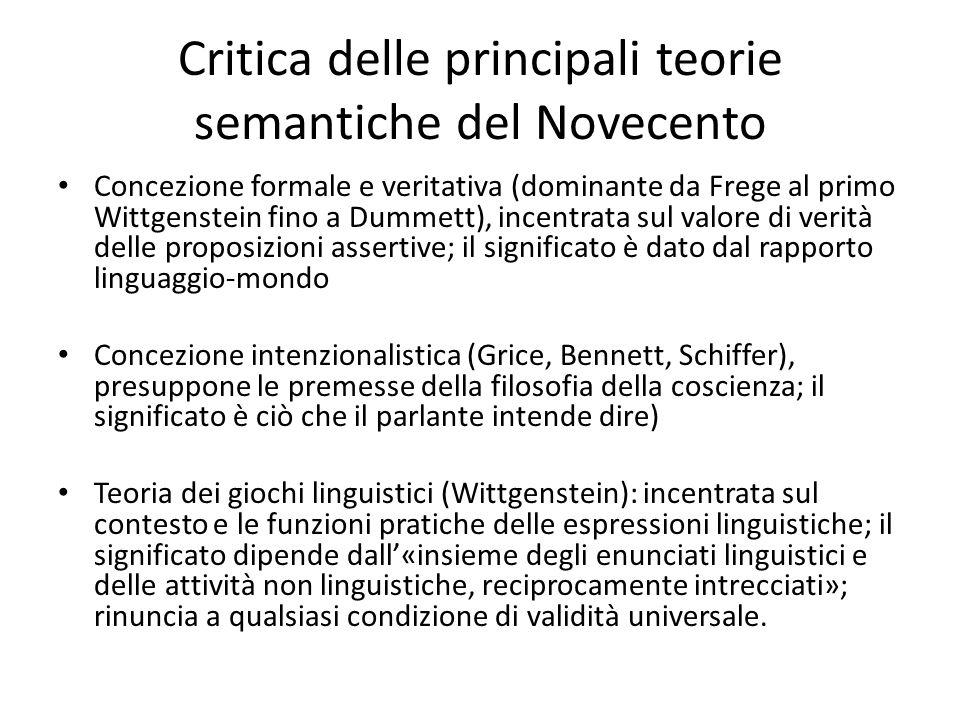 Critica delle principali teorie semantiche del Novecento