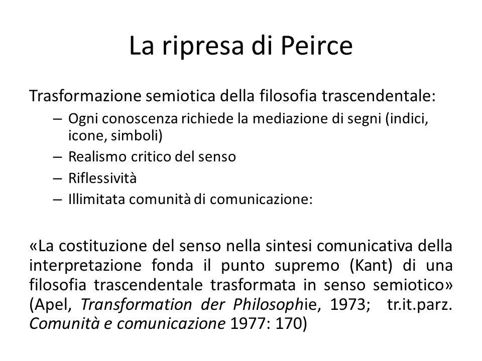 La ripresa di Peirce Trasformazione semiotica della filosofia trascendentale: