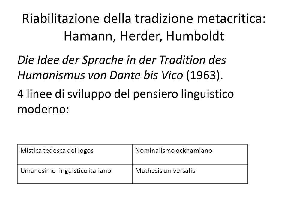 Riabilitazione della tradizione metacritica: Hamann, Herder, Humboldt