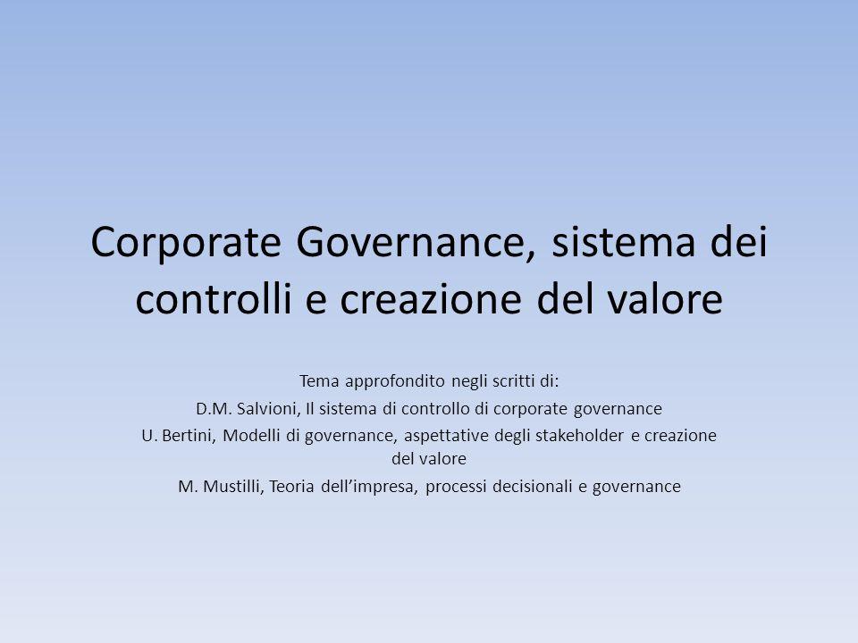 Corporate Governance, sistema dei controlli e creazione del valore