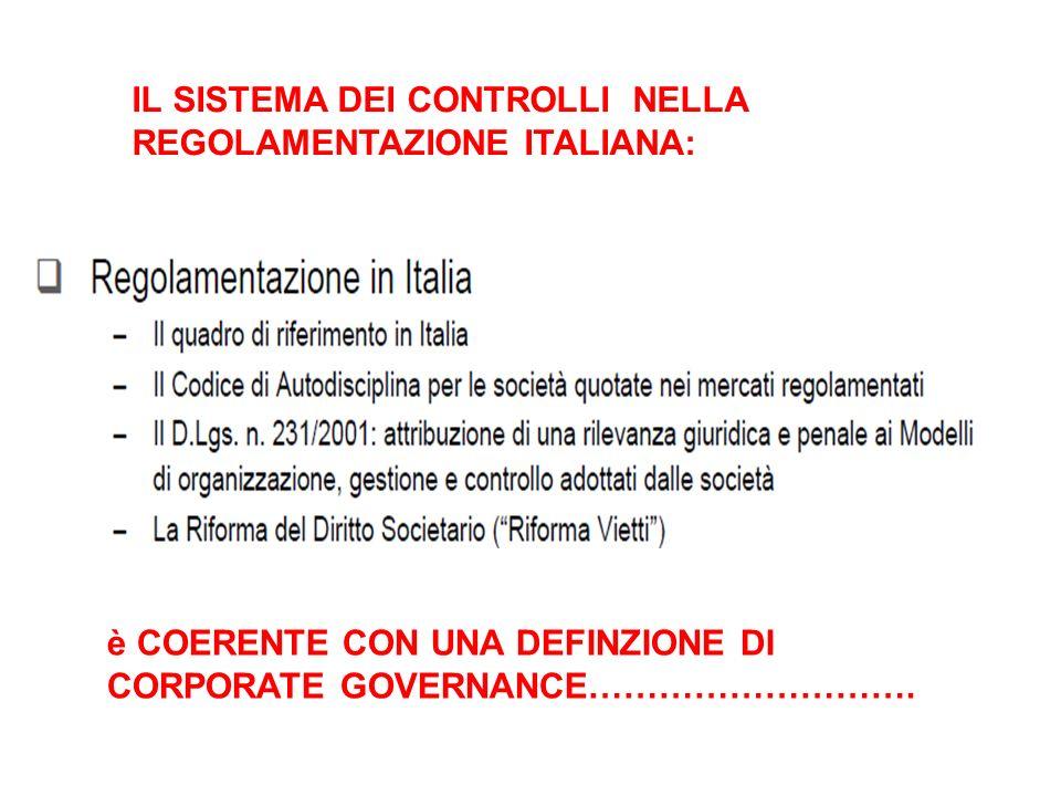 IL SISTEMA DEI CONTROLLI NELLA REGOLAMENTAZIONE ITALIANA: