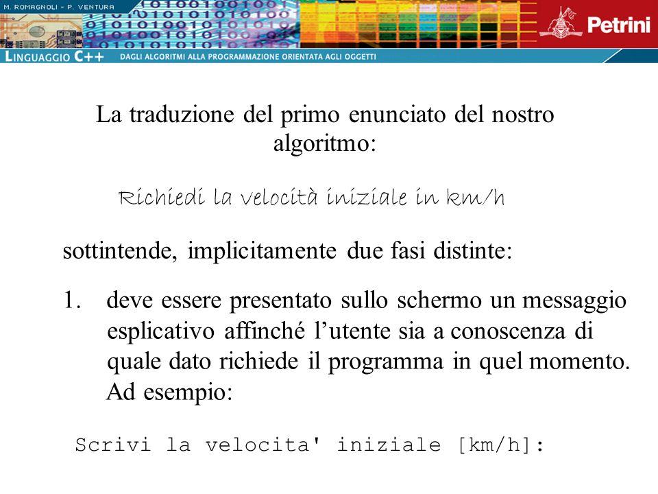 La traduzione del primo enunciato del nostro algoritmo: