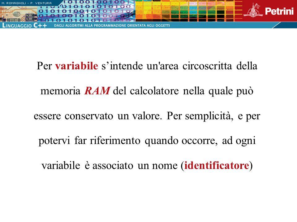 Per variabile s'intende un area circoscritta della memoria RAM del calcolatore nella quale può essere conservato un valore.