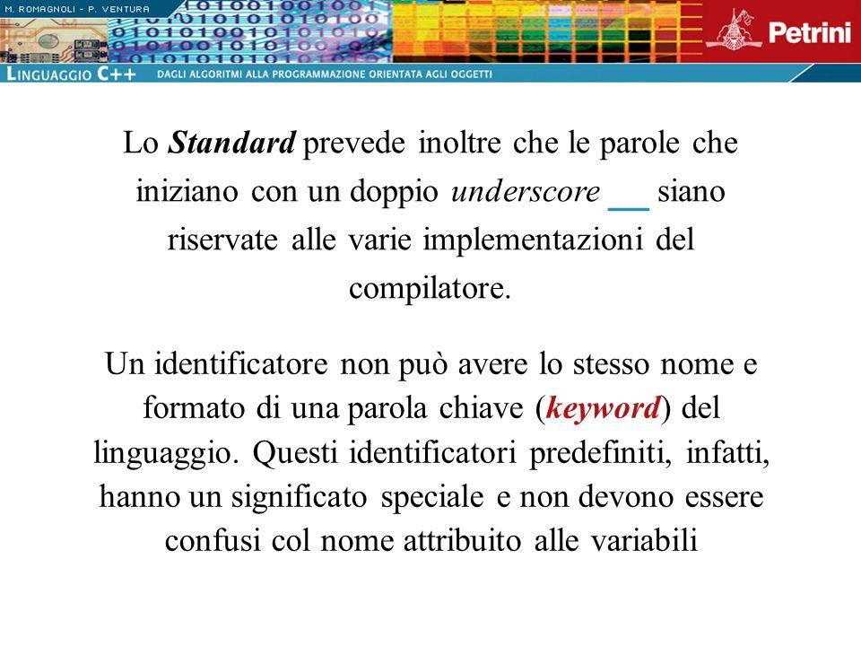 Lo Standard prevede inoltre che le parole che iniziano con un doppio underscore __ siano riservate alle varie implementazioni del compilatore.