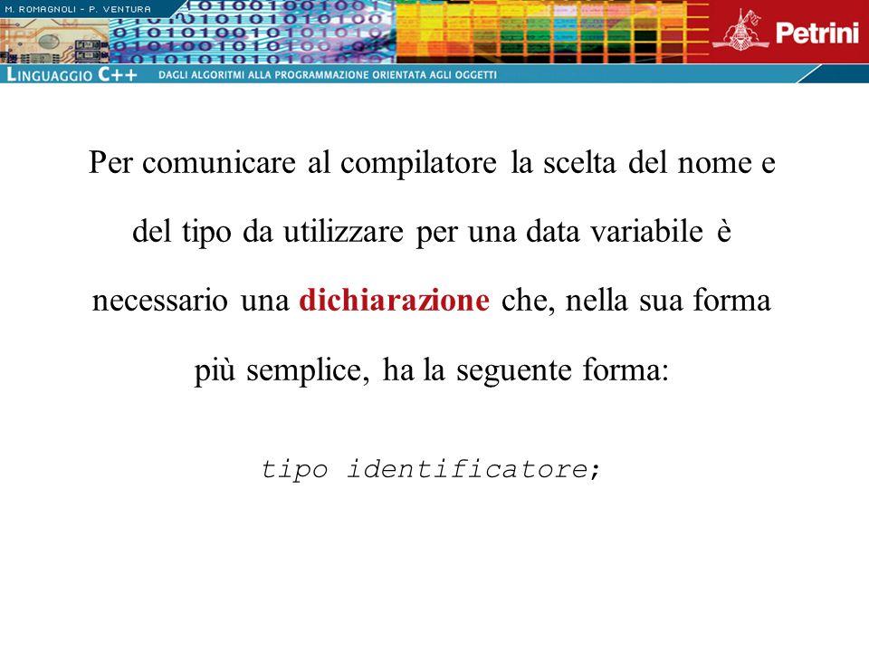 Per comunicare al compilatore la scelta del nome e del tipo da utilizzare per una data variabile è necessario una dichiarazione che, nella sua forma più semplice, ha la seguente forma: