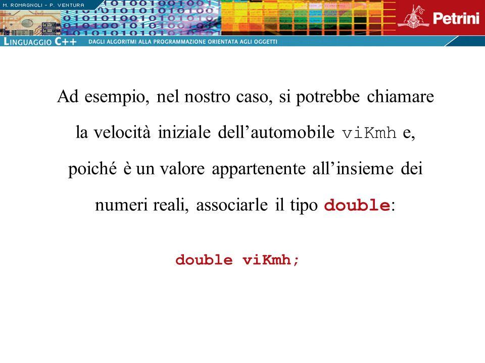 Ad esempio, nel nostro caso, si potrebbe chiamare la velocità iniziale dell'automobile viKmh e, poiché è un valore appartenente all'insieme dei numeri reali, associarle il tipo double: