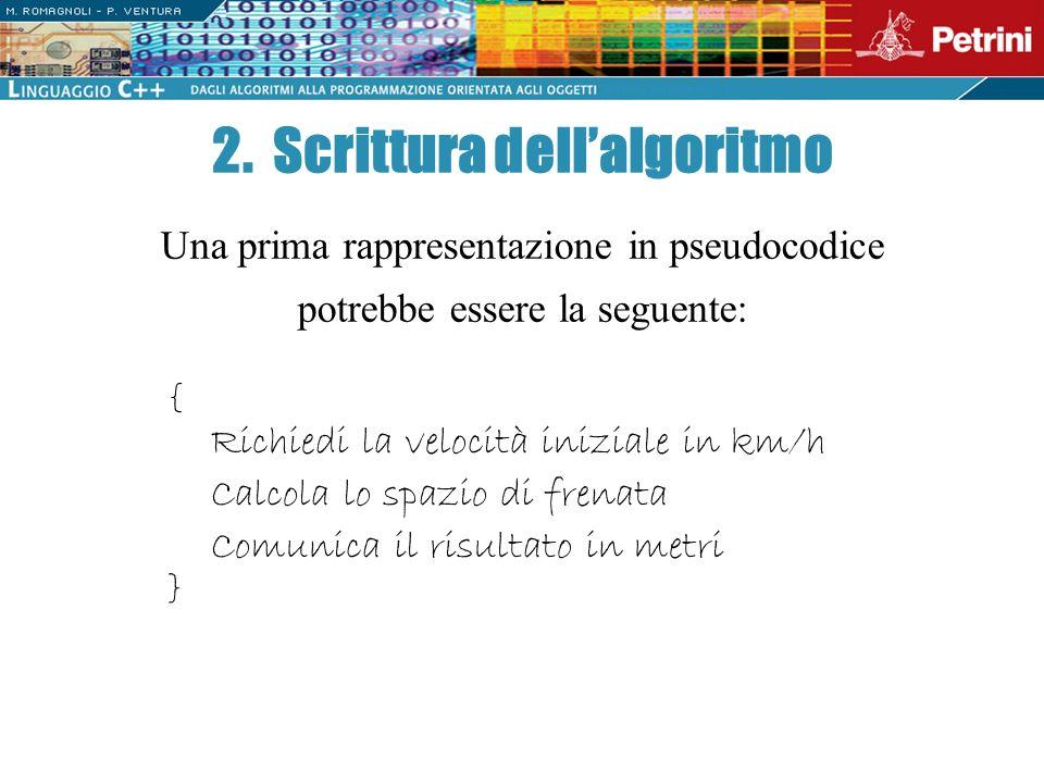 2. Scrittura dell'algoritmo