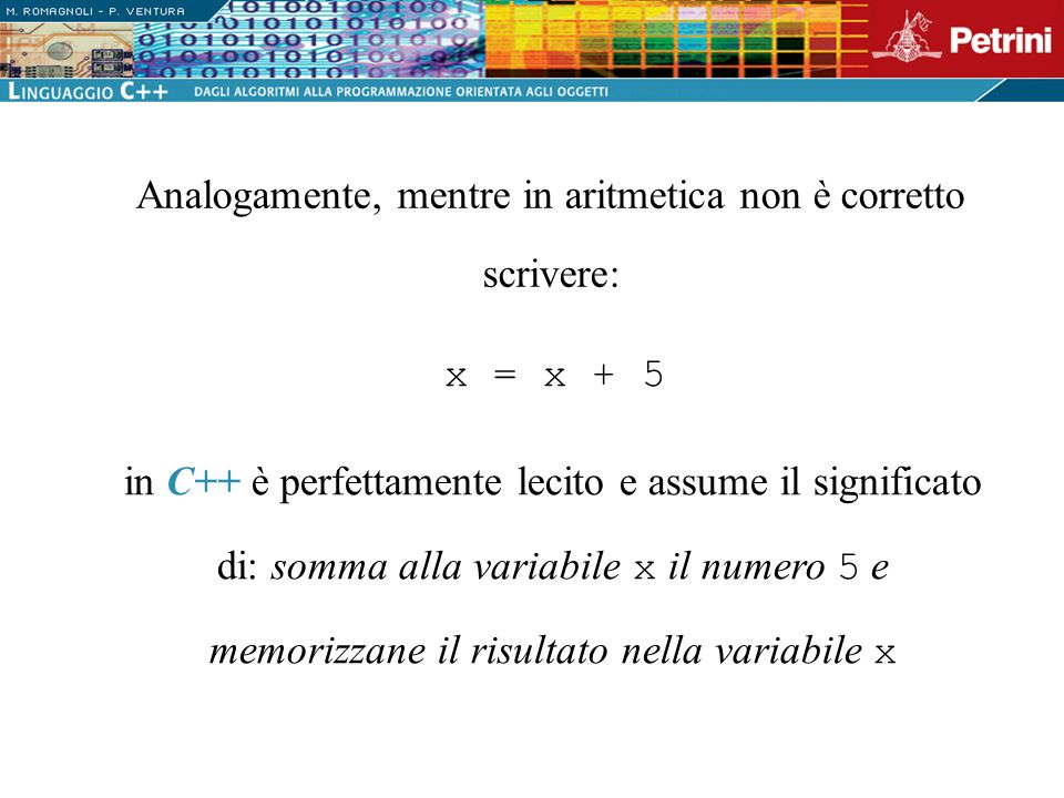 Analogamente, mentre in aritmetica non è corretto scrivere:
