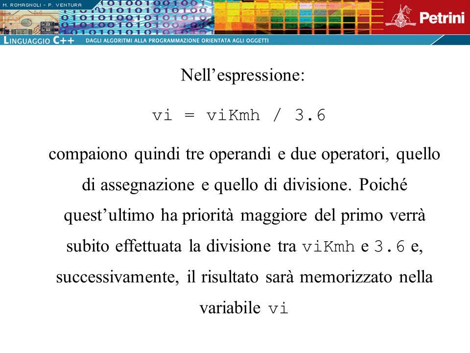 Nell'espressione: vi = viKmh / 3.6.