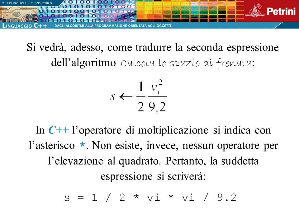 Si vedrà, adesso, come tradurre la seconda espressione dell'algoritmo Calcola lo spazio di frenata: