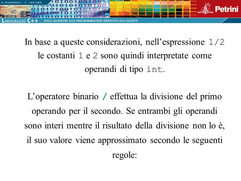 In base a queste considerazioni, nell'espressione 1/2 le costanti 1 e 2 sono quindi interpretate come operandi di tipo int.