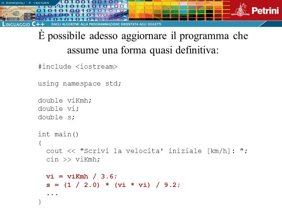 È possibile adesso aggiornare il programma che assume una forma quasi definitiva: