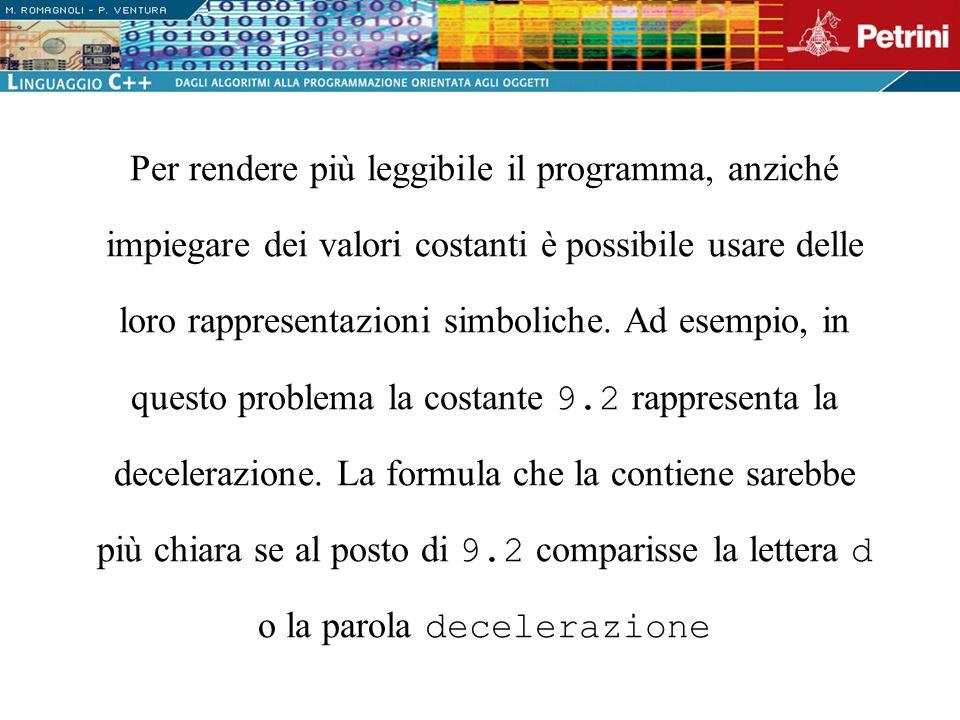 Per rendere più leggibile il programma, anziché impiegare dei valori costanti è possibile usare delle loro rappresentazioni simboliche.