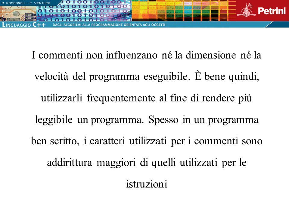 I commenti non influenzano né la dimensione né la velocità del programma eseguibile.