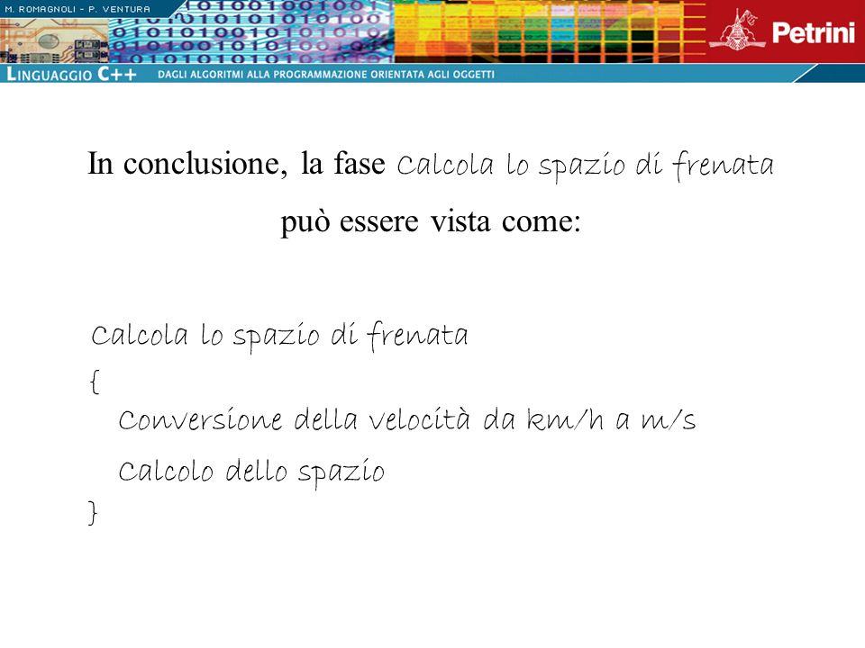 In conclusione, la fase Calcola lo spazio di frenata può essere vista come: