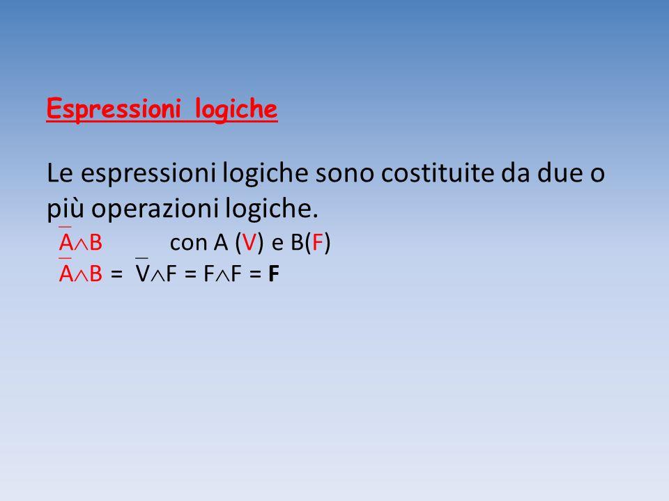 Espressioni logiche Le espressioni logiche sono costituite da due o più operazioni logiche. AB con A (V) e B(F)
