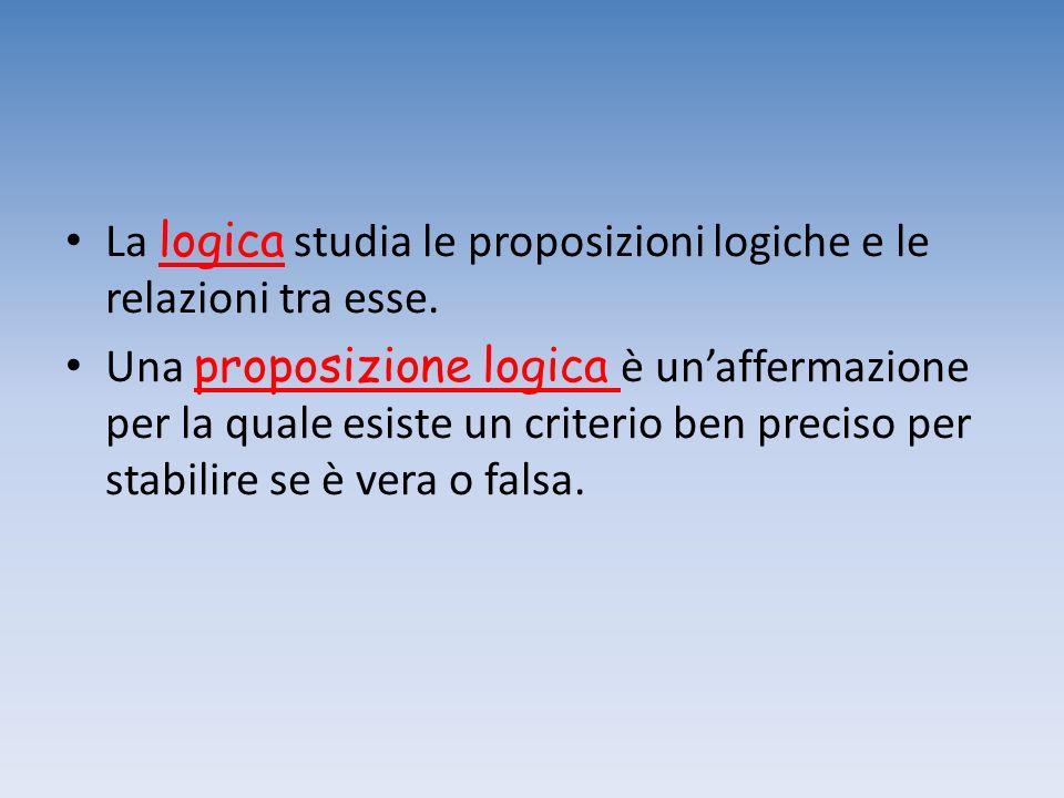La logica studia le proposizioni logiche e le relazioni tra esse.