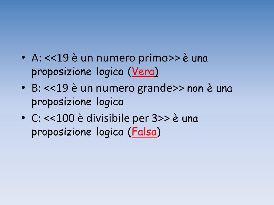 A: <<19 è un numero primo>> è una proposizione logica (Vera)