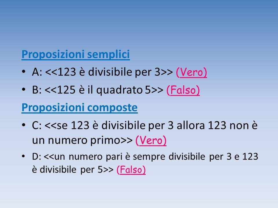 Proposizioni semplici A: <<123 è divisibile per 3>> (Vero)