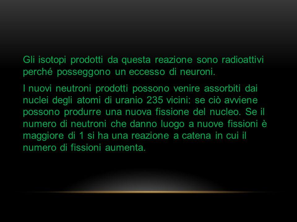 Gli isotopi prodotti da questa reazione sono radioattivi perché posseggono un eccesso di neuroni.