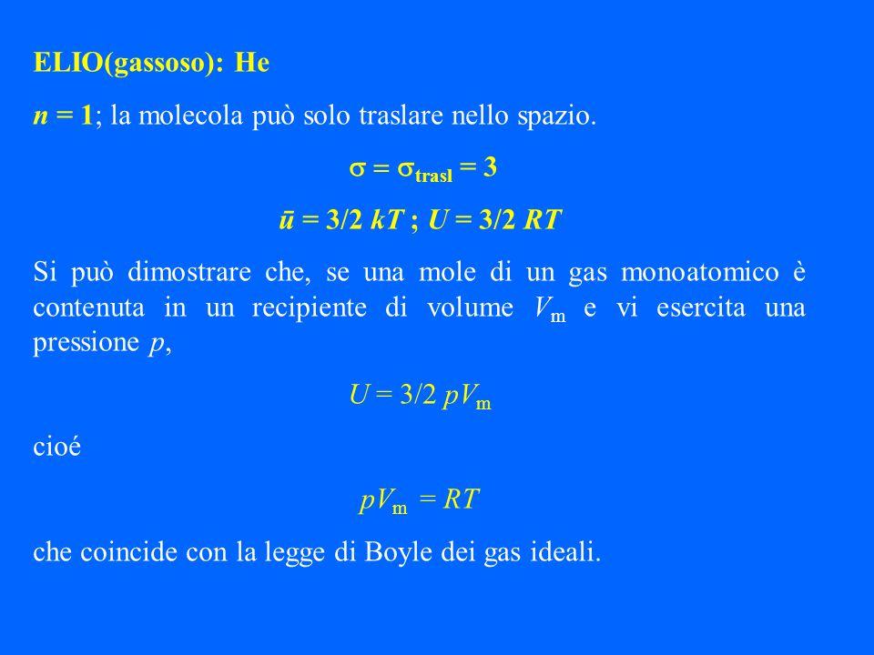 ELIO(gassoso): He n = 1; la molecola può solo traslare nello spazio. s = strasl = 3. ū = 3/2 kT ; U = 3/2 RT.