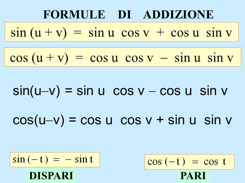 sin (u + v) = sin u cos v + cos u sin v
