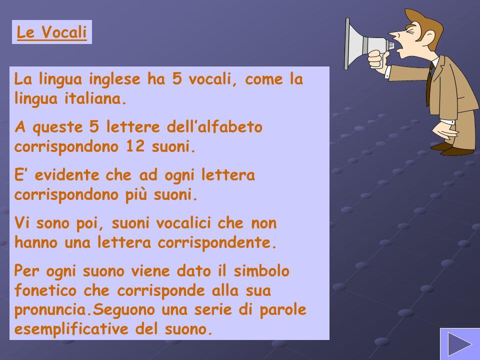 Le Vocali La lingua inglese ha 5 vocali, come la lingua italiana. A queste 5 lettere dell'alfabeto corrispondono 12 suoni.