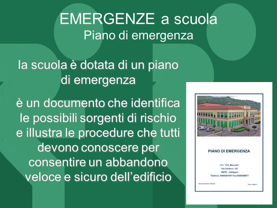 EMERGENZE a scuola Piano di emergenza