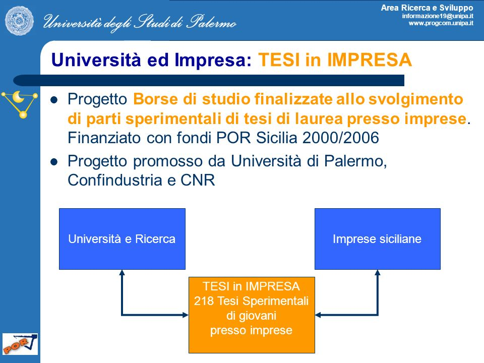 Università ed Impresa: TESI in IMPRESA