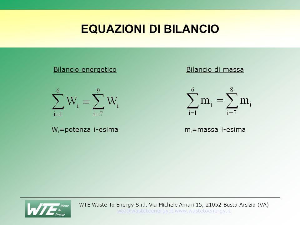 EQUAZIONI DI BILANCIO Bilancio energetico Wi=potenza i-esima