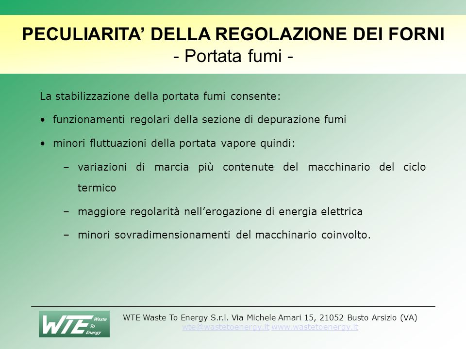 PECULIARITA' DELLA REGOLAZIONE DEI FORNI - Portata fumi -
