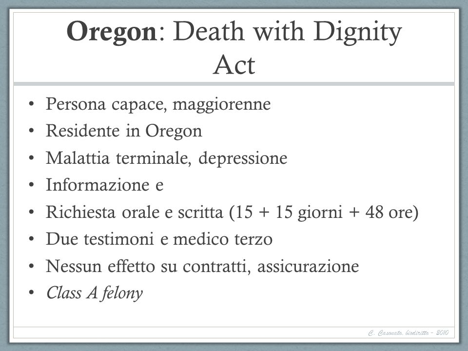 Oregon: Death with Dignity Act