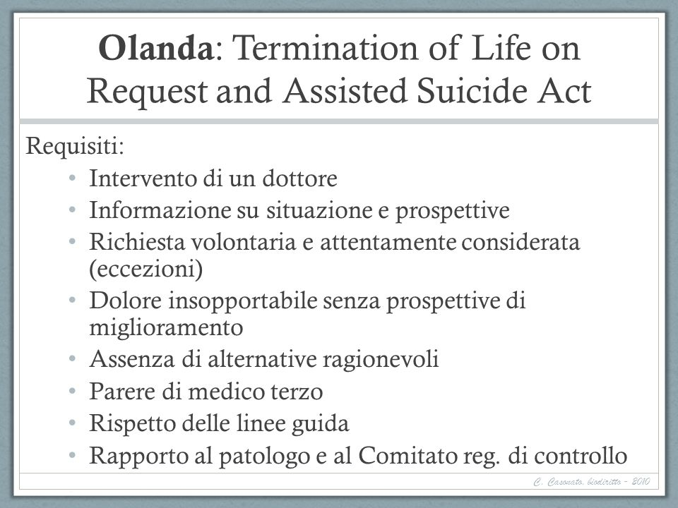 Olanda: Termination of Life on Request and Assisted Suicide Act