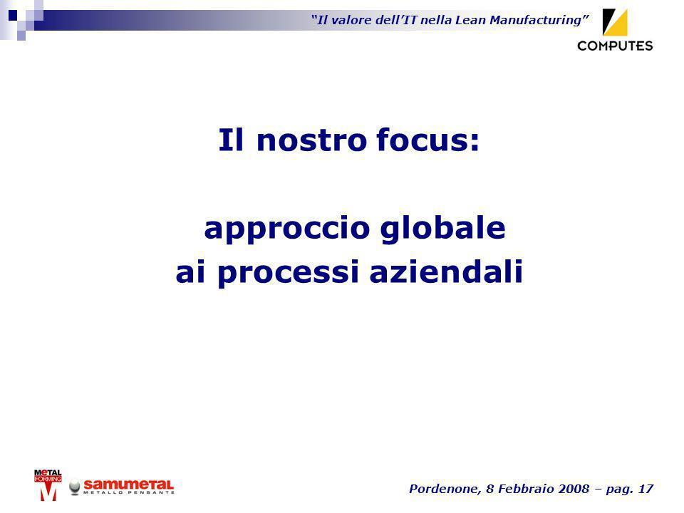 Il nostro focus: approccio globale ai processi aziendali