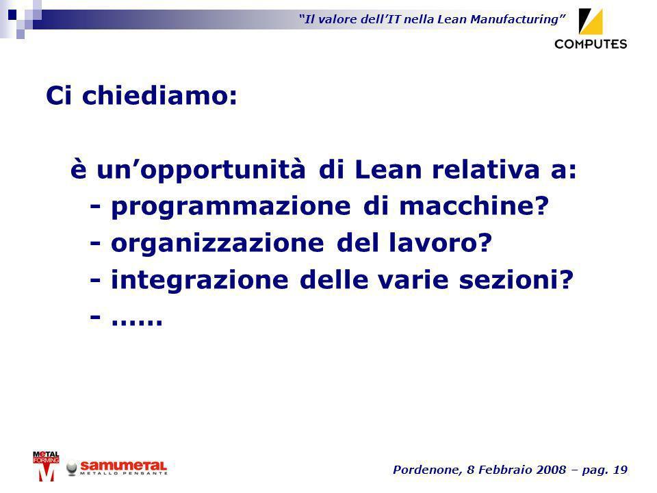 Ci chiediamo: è un'opportunità di Lean relativa a: - programmazione di macchine - organizzazione del lavoro