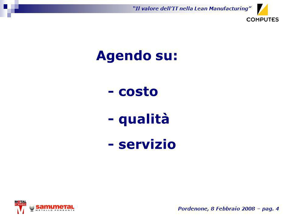 Agendo su: - costo - qualità - servizio