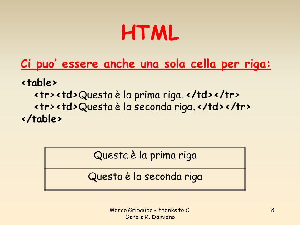 HTML Ci puo' essere anche una sola cella per riga: