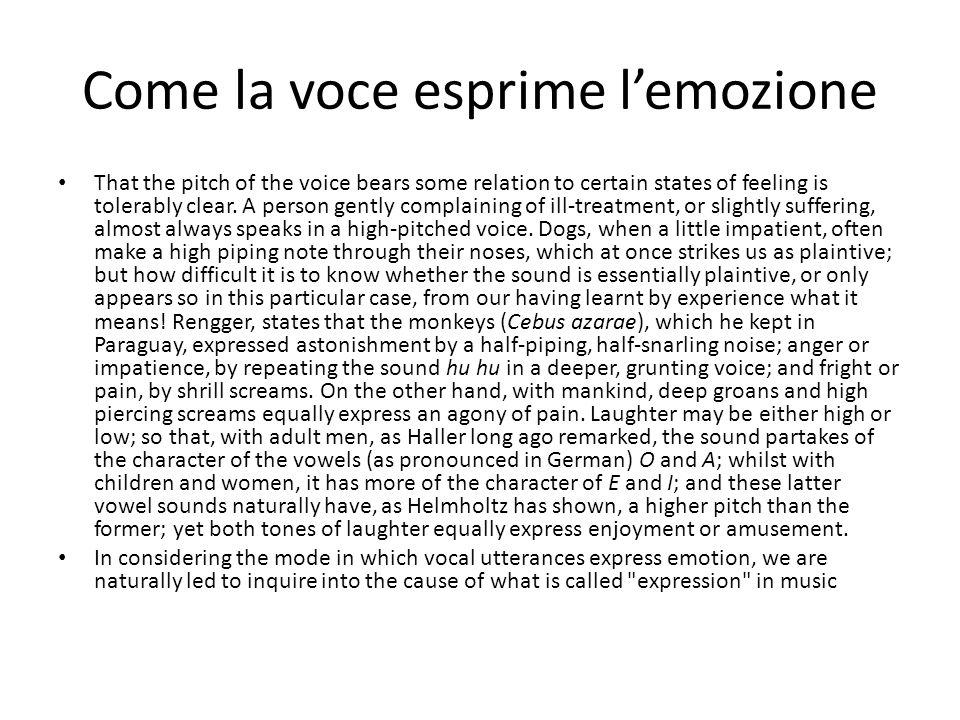 Come la voce esprime l'emozione